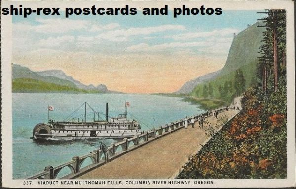 DALLES CITY (stern-wheeler) on Columbia River, postcard